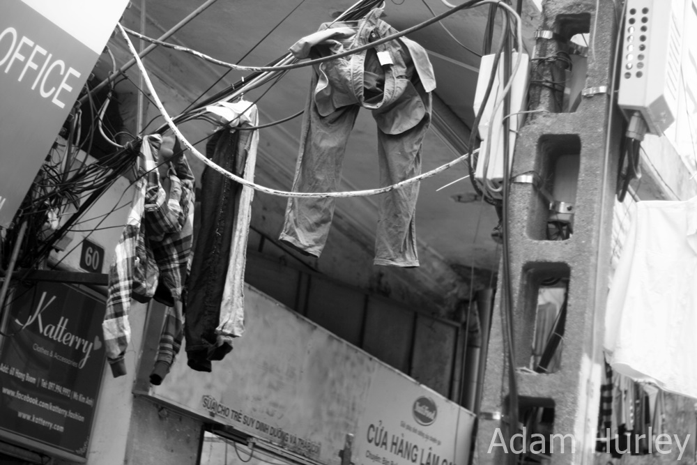 Wired in Hanoi - make shift clothesline!