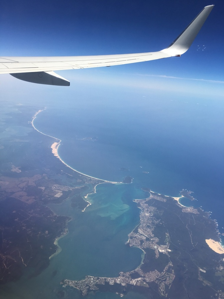 Flying high somewhere along the NSW coastline