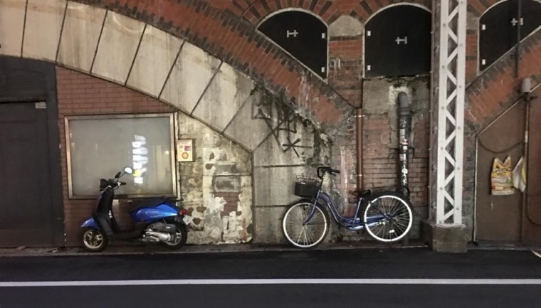 Bike and a bike parked on a Tokyo street.....